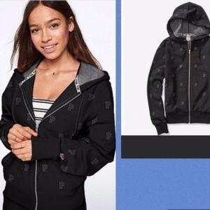 S Vs pink Premium College Full zip Hoodie Black